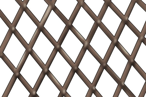 Image of a metal lattice, illustrating material with confined spaces and acute angles. Slotting files and lozenge files can be used to deburr the insides of this type of material.