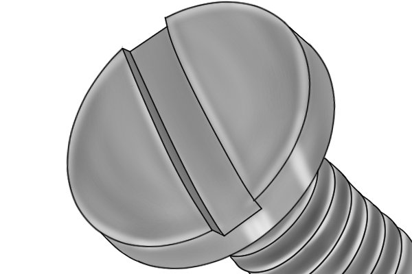 A screw head, which is where the slotting file earned its other name