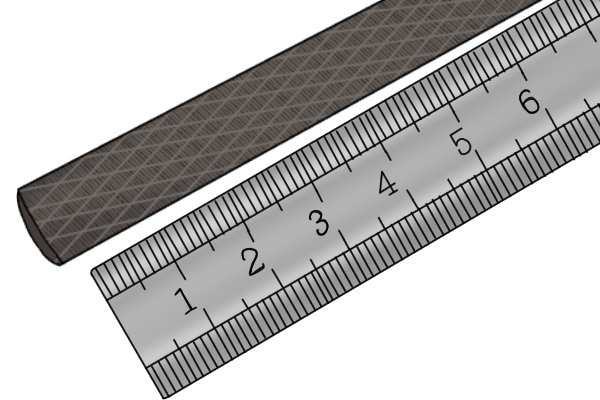 Image of a millenicut file being measured for coarseness, which will result in it being classified with a number of teeth per inch