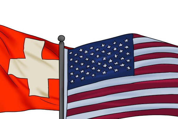 American and Swiss flags, illustrating that this type of file is made in either American or Swiss pattern