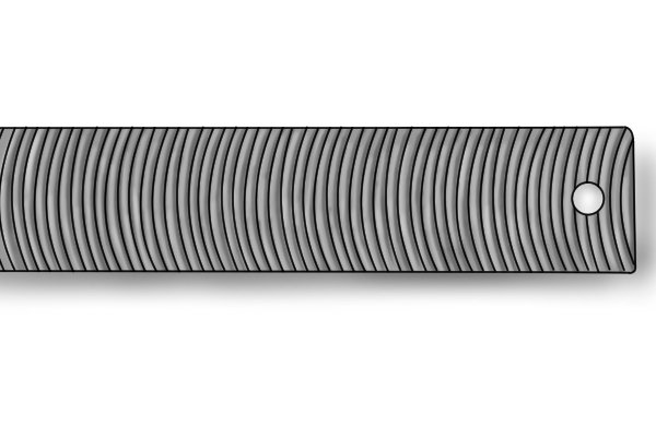 A curved tooth flexible file which can be used on car bodywork