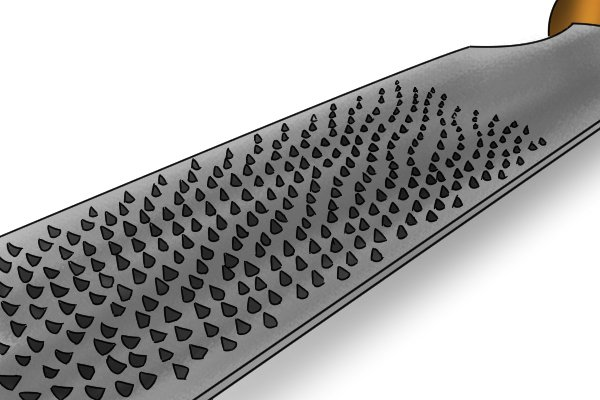 Image of a machine made rasp with teeth cut uniformly and in straight rows