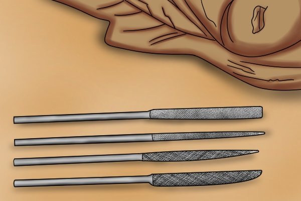 A selection of different needle rasps which are used for shaping fine details in wood