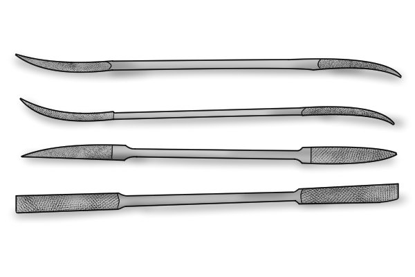 A selection of silversmith's rifflers