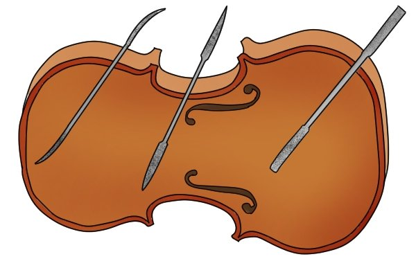 Image of the front panel of a violin, which requires the use of riffler files to shape the curves and file inside the f holes