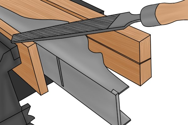Image of a DIYer using a flat file to smooth a flat surface