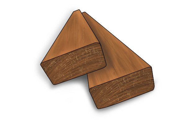 Planks of wood, a soft material that should be shaped with a rasp