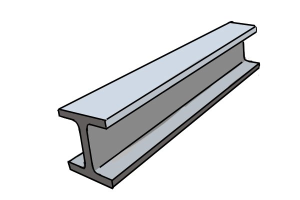 A steel girder, which has a hardness of 5.5 on the Moh's scale