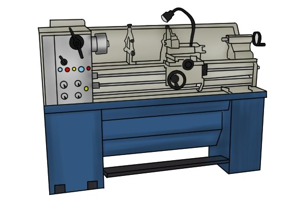 A lathe, a tool for turning wood, which allows for cylindrical carving and filing