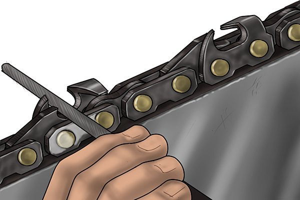 Image of a DIYer checking his chainsaw file is in the correct position before starting the sharpening process