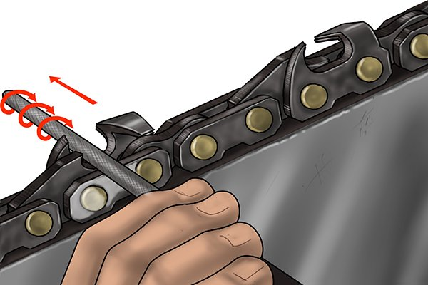 Twist the chainsaw file as you push it forward to make best use of the teeth