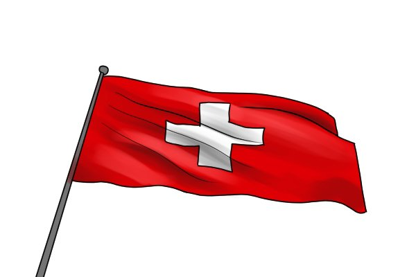 Flag of Switzerland - home of the Swiss pattern file invented by F. L. Grobet in the 19th Century