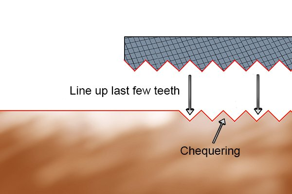 Image to show that it's possible to line up your chequering file so that only a few rows of teeth are doing any cutting
