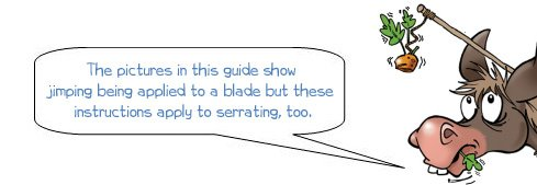 Wonkee Donkee explains that the pictures in the upcoming guide depict the jimping process but that the guide also applies to serrating a blade