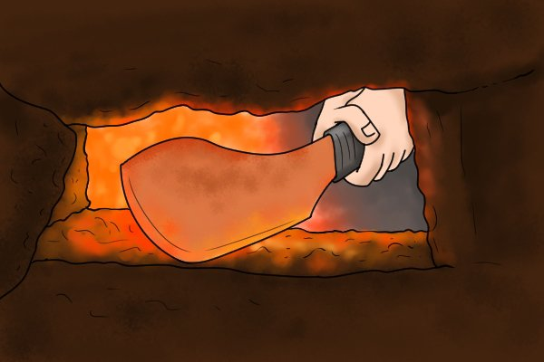 Image of hot iron which is soft enough to be shaped with a rasp