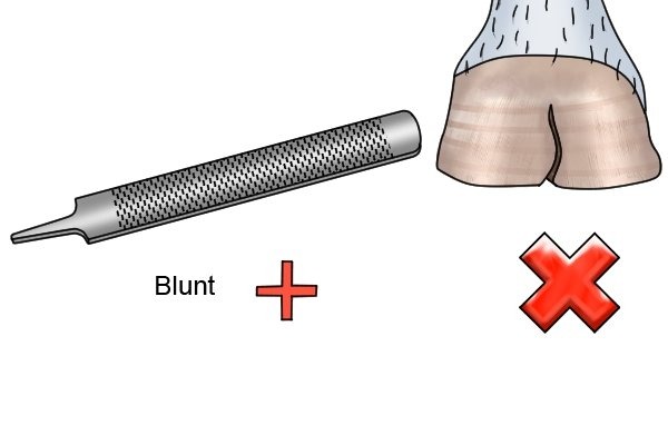 Image to illustrate the idea of a horse rasp that is too worn to effectively file horse's hooves