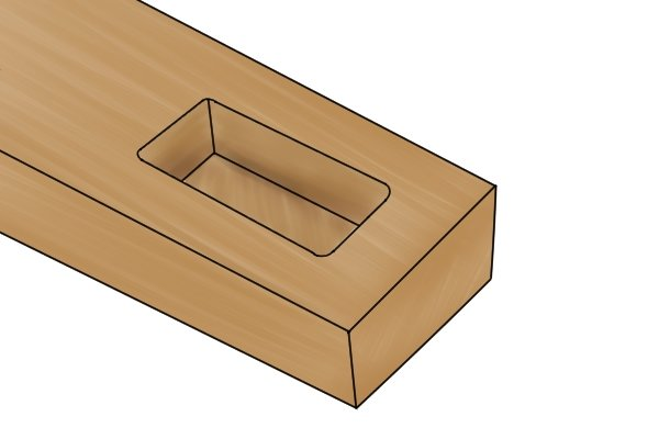 Image of a wooden mortise which can be smoothed on the inside by a pillar file