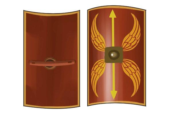 Convex roman shield, shaped through filing