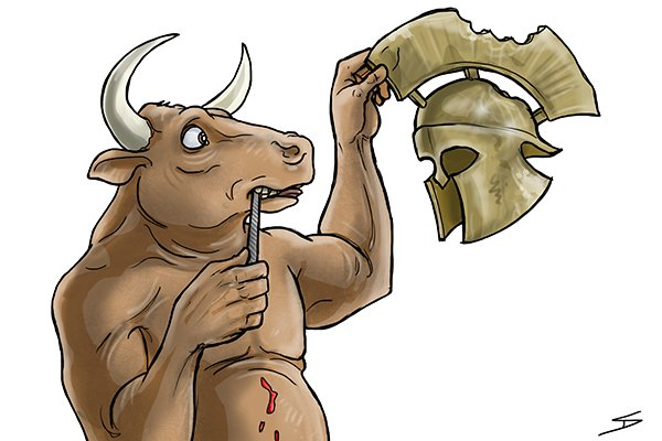 Minotaur holding a file - possibly the first ever metal file created in Crete in 1400 BC