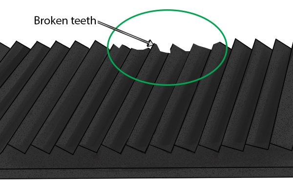 File teeth that have broken because they were cut at too deep an angle to the body of the file