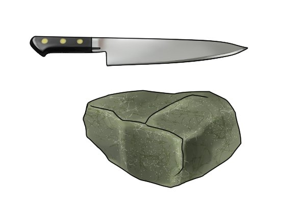 Image to show that a knife cannot cut a stone because the stone is generally harder than the knife