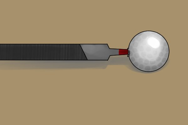 Image of a file with a golf ball for a handle