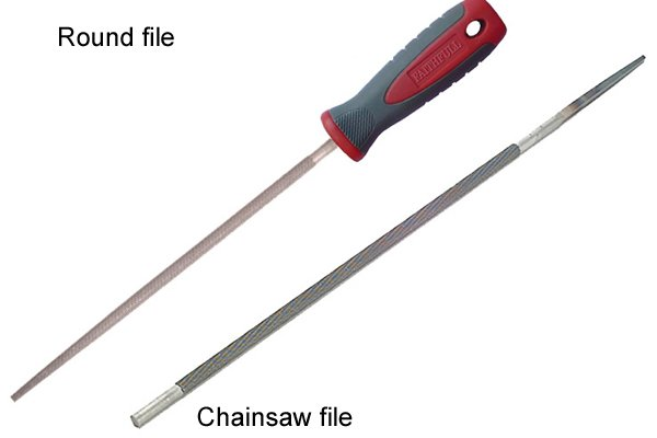 Image showing that a round file is tapered and a chainsaw file is straight