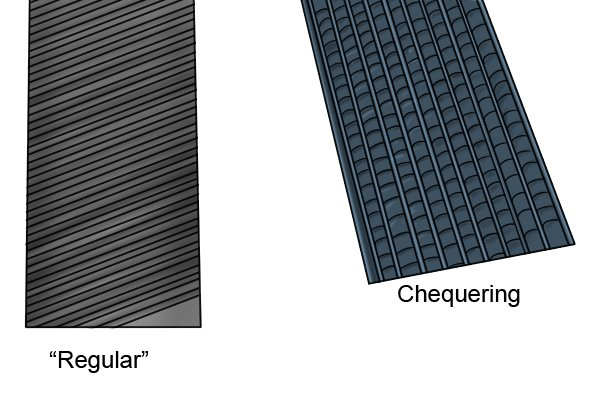 Image to show how the cut on hand and checkering files is the main distinguishing feature between them