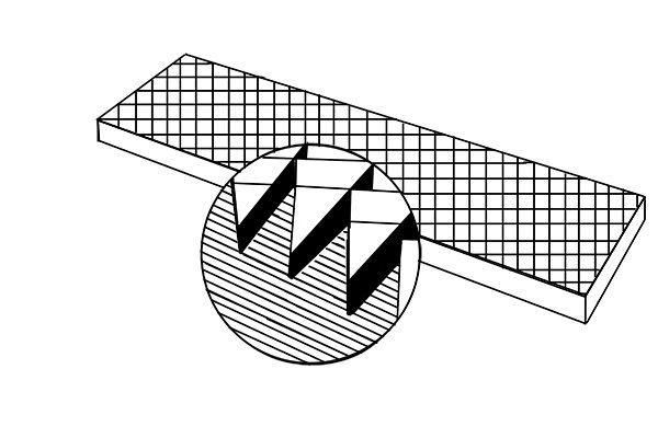 Image showing a close up of a double cut file's teeth and an illustration of its cross section