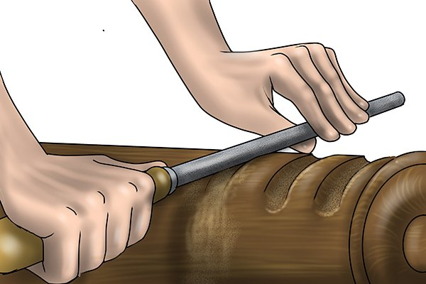 Image of a DIYer filing a convex surface with a flat file