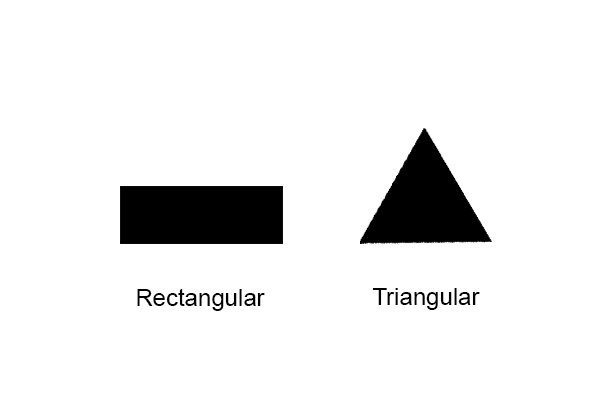 Illustration of rectangular and triangular cross sections, which are the most common for files