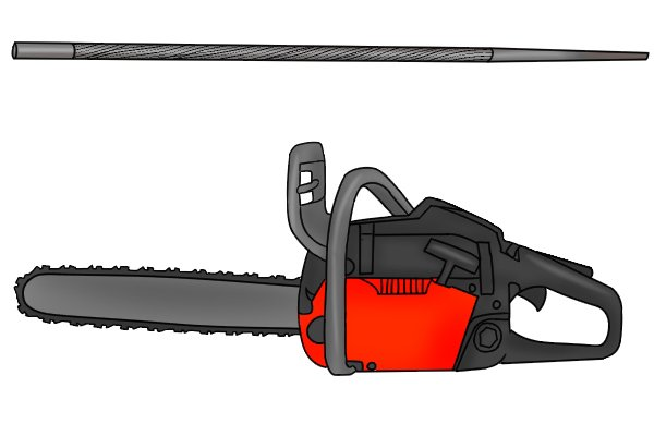 Image of a chainsaw alongside a chainsaw file, a tool designed specifically for sharpening it