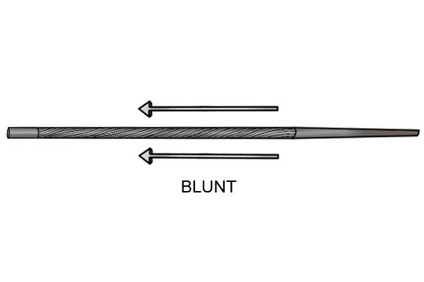 Image to show a blunt file which does not taper towards the point