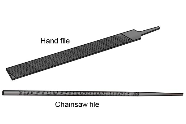 Image of a hand file and a chainsaw file to illustrate different types of blunt file