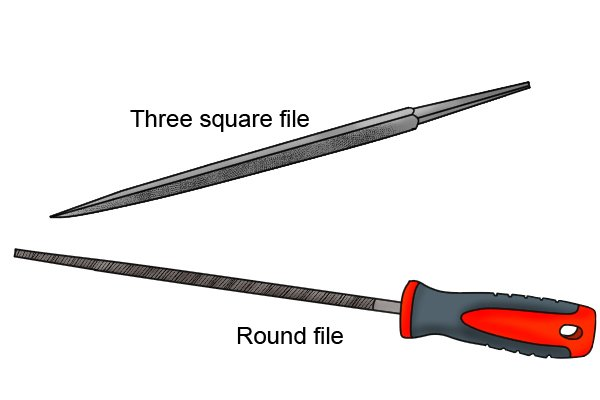 Image of a round and three square file to illustrate files with tapers