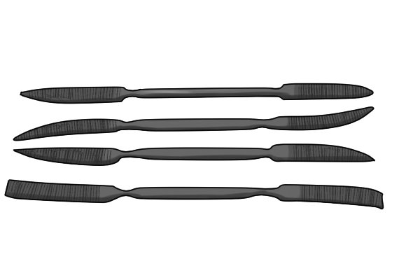 Riffler files, which are cut with rasp teeth but follow the Swiss pattern convention for measuring coarseness
