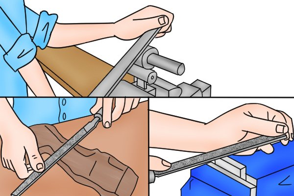 A DIYer using a flat file to smooth a concave surface, shape a piece of wood and smooth the edge of a piece of metal