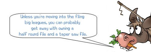 Wonkee Donkee recommends keeping a taper saw file and a half round file in your tool box