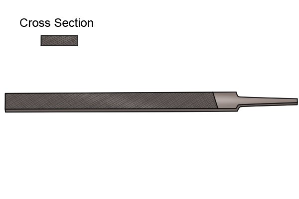Image to show the cross section and outline of a square edge joint file