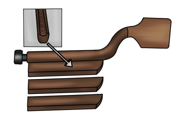 Image of an adjustable fret end file along with the three different sizes of file attachment that go with it: skinny, medium and large