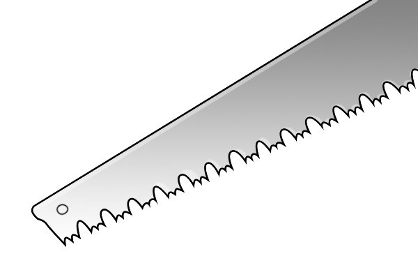 Image of a crosscut saw that has been sharpened a few times and now has very shallow gullets between the teeth. At this stage, the gullets should be deepened with a crosscut file