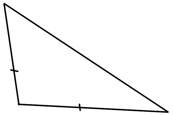 A triangle with two sides the same length, known as an isosceles triangle