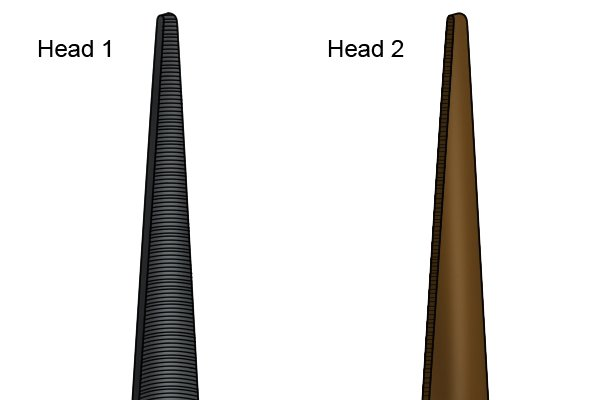 Two different views of the tool used to sharpen auger bits which is known as an auger bit file