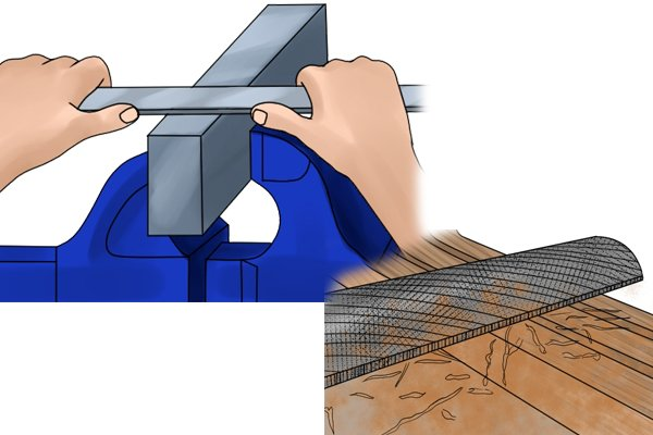 Image of a DIYer smoothing metal and another DIYer roughing out a shape in wood