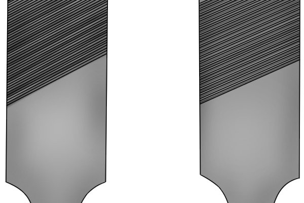 Image to illustrate that a farmer's own file is single cut on both sides, but coarser on one side than the other