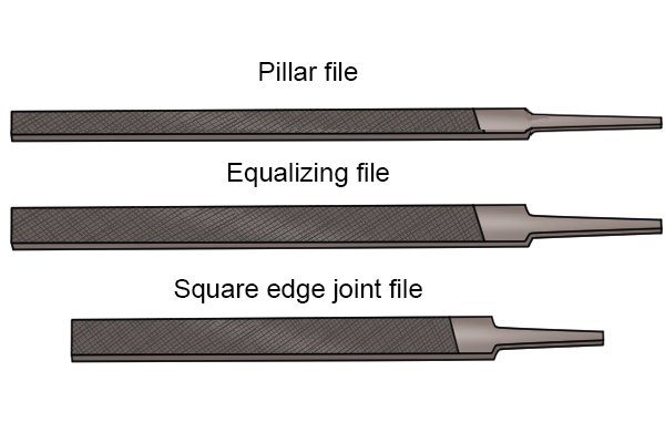 Image of a pillar file, an equalling file and a square edge joint file