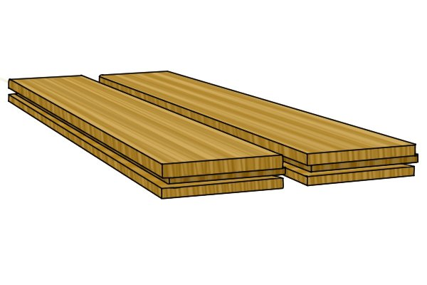 Image of tongue and groove floorboards with the groove facing the camera. The groove can be filed using a square edge joint file