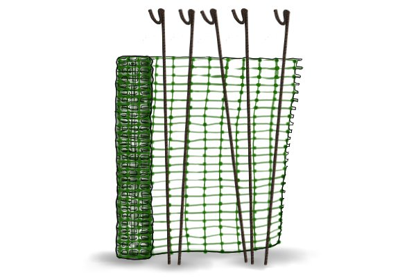 Fencing pins and temporary garden fencing