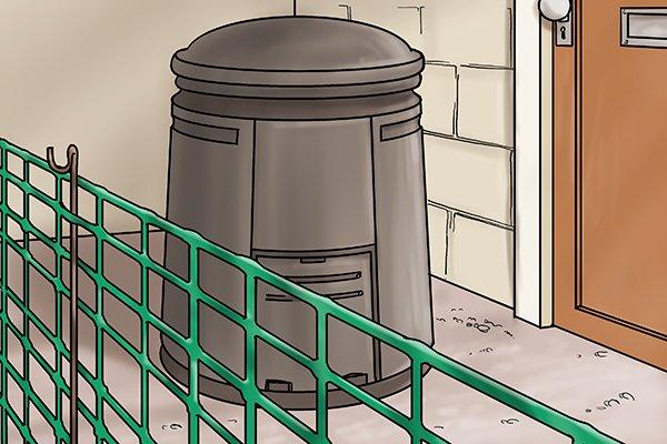 Fencing off compost bins.