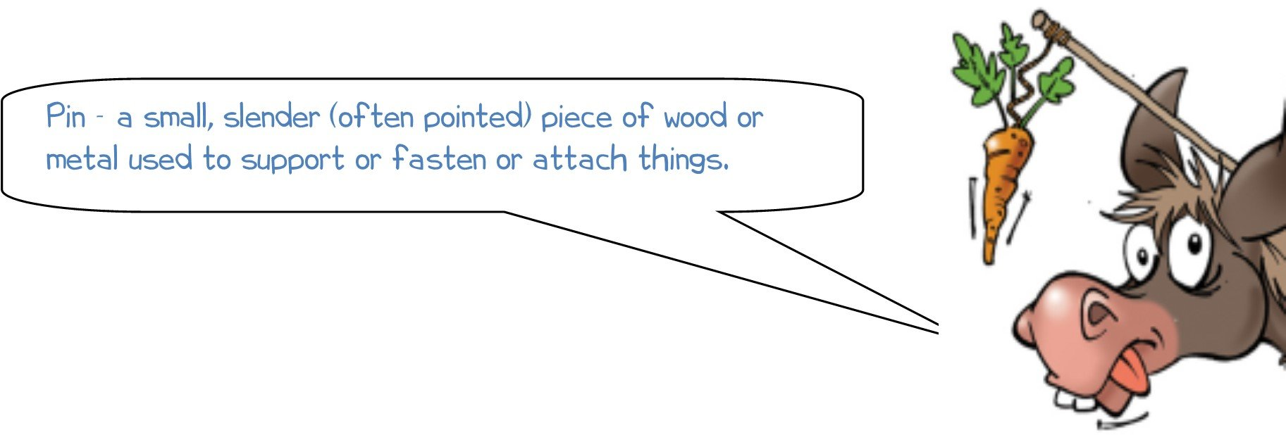 Pin - a small, slender (often pointed) piece of wood or metal used to support or fasten or attach things.